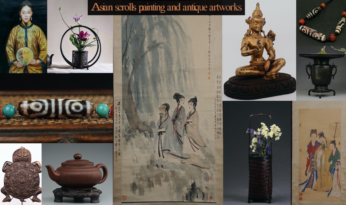 Asian scrolls painting and antique artworks preview